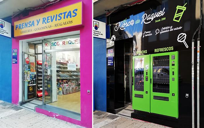 Antes y después de instalar una fachada vending en un negocio
