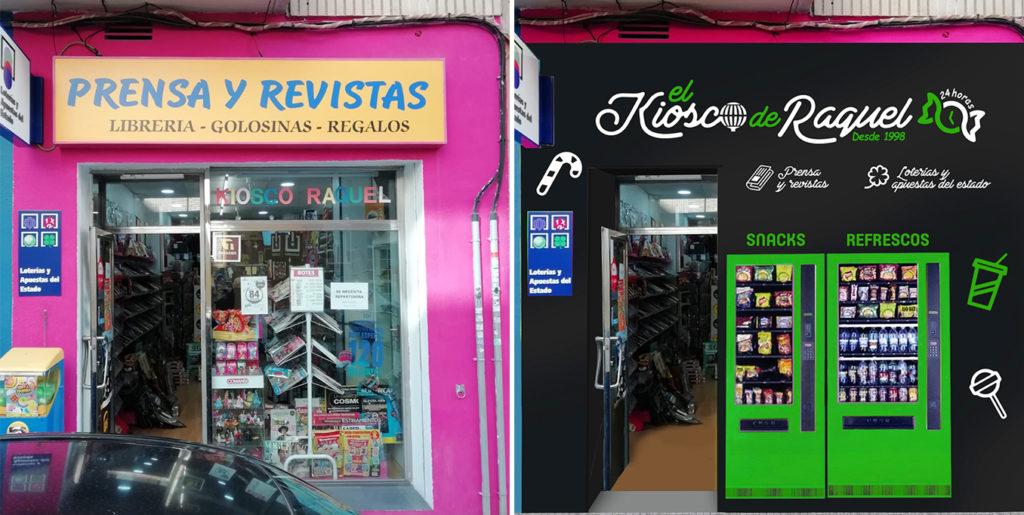 Fontal Antes y Después Escaparate vending Quiosco